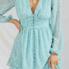Hippie Boho Dress Female Long Sleeve Chiffon Dress V-Neck Floral Dress Button Front Dress LF19DR4284 - Slabiti