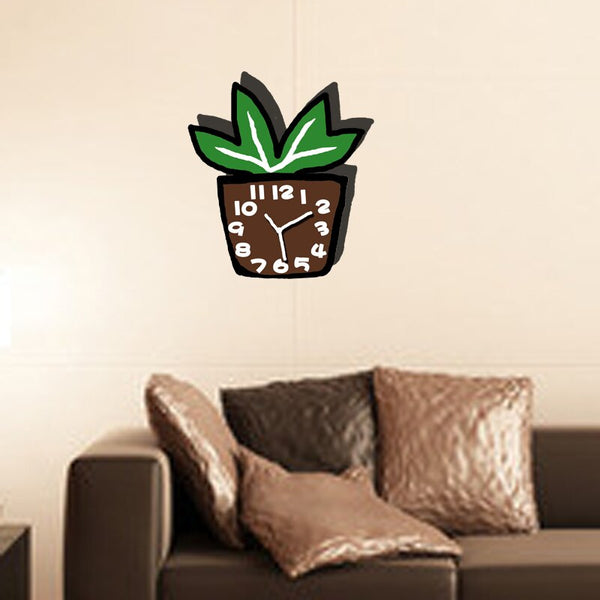 Home living room decoration potted silent wall clock - Slabiti
