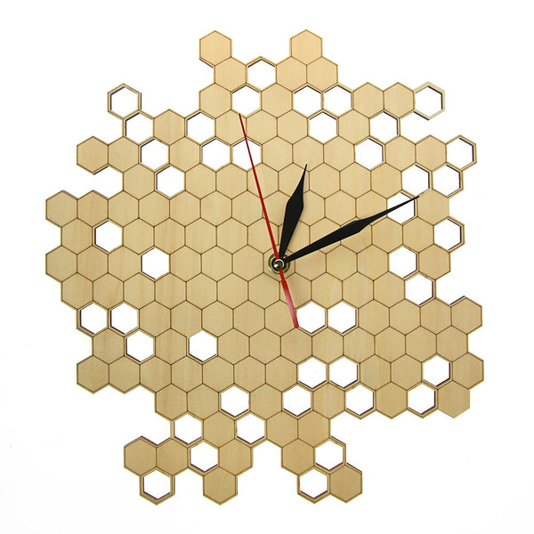 Honeycomb Nature Inspired Wooden Wall Clock Contemporary Style Laser Engraved Hexagonal Clock Wall Watch Bamboo Bee Home Decor - Slabiti