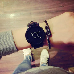 Hot fashion creative watches women men quartz-watch BGG brand unique dial design minimalist lovers' watch leather wristwatches - Slabiti