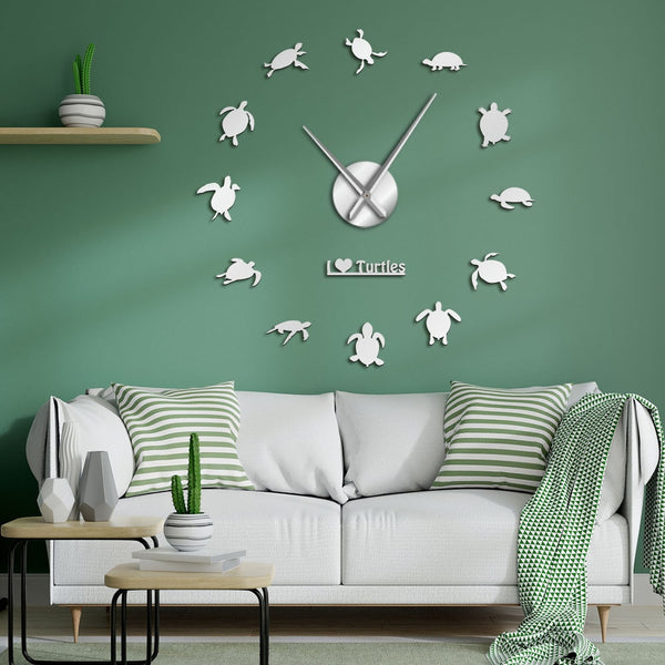I Love Turtles DIY Sticker Wall Art Decorative Giant Wall Clock Sea Turtles Silhouette Beach Decor Sea Animals Large Clock Wall - Slabiti