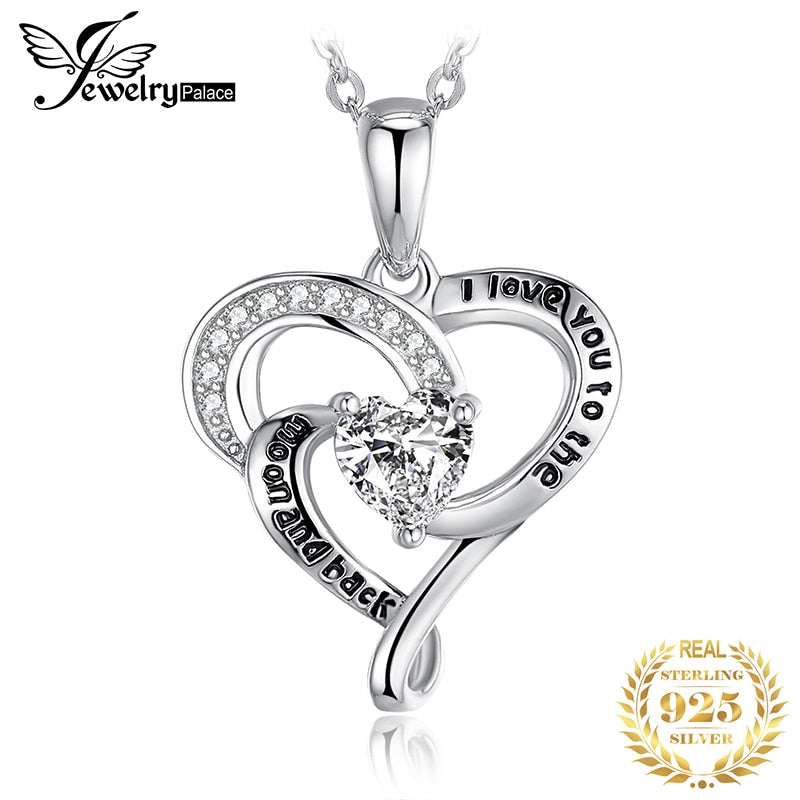 I Love You Moon And Back Pendant Necklace 925 Sterling Silver Choker Statement Necklace Women Silver 925 Jewelry Without Chain - Slabiti
