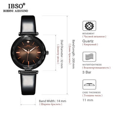 IBSO Brand Luxury Women Crystal Watches Fashion Cut Glass Design Wrist Watch For Female Leather Quartz Watch Montre Femme - Slabiti