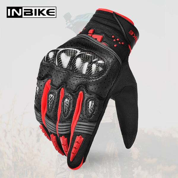 INBIKE Motorcycle Gloves Carbon Fiber Winter Thermal Gloves Wear Resistant Racing Gloves Protective Gear MTB Motorbike Gloves - Slabiti