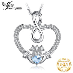 Infinity Claddagh Heart Natural Blue Topaz Pendant Necklace 925 Sterling Silver Gemstones Choker Necklace Women Without Chain - Slabiti