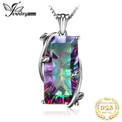 JPalace 16ct Rainbow Mystic Topaz Pendant Necklace 925 Sterling Silver Gemstones Choker Statement Necklace Women Without Chain - Slabiti