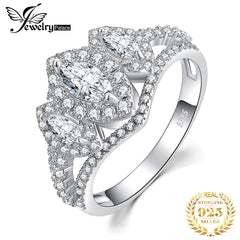 JPalace 3 Stone Marquise Cut CZ Engagement Ring 925 Sterling Silver Rings for Women Anniversary Wedding Rings Silver 925 Jewelry - Slabiti