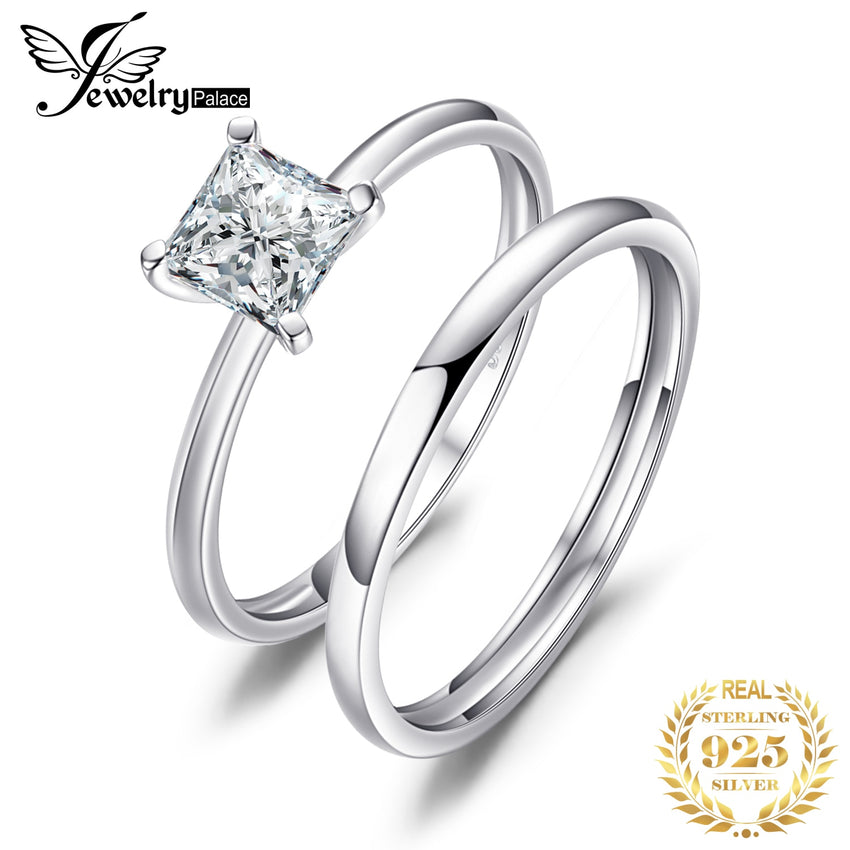 JPalace CZ Engagement Ring Set 925 Sterling Silver Rings for Women Anniversary Wedding Rings Band Bridal Sets Silver 925 Jewelry - Slabiti
