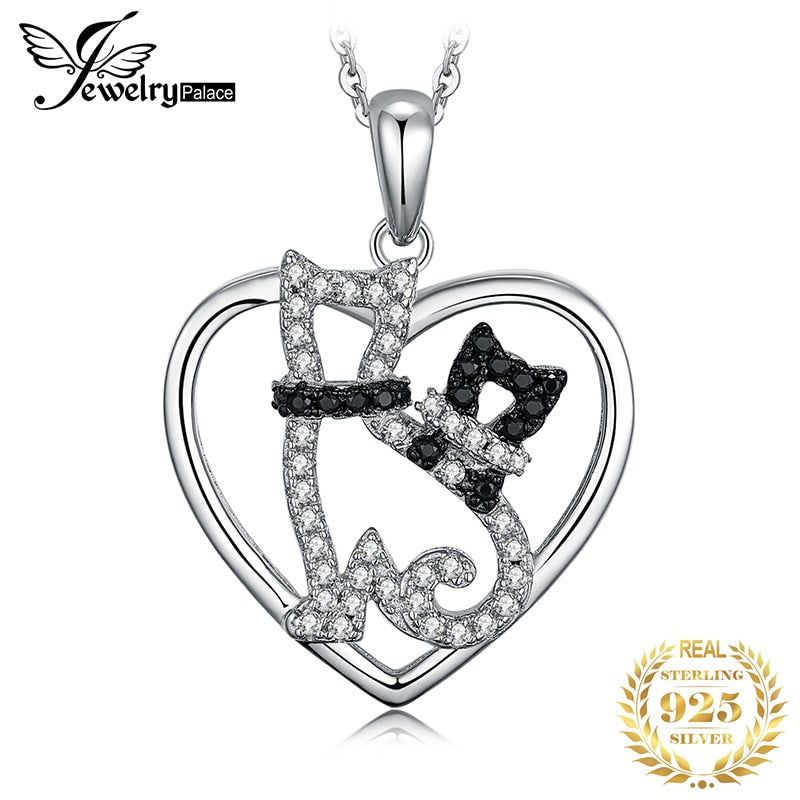 JPalace Cats Natural Black Spinel Pendant Necklace 925 Sterling Silver Gemstones Choker Statement Necklace Women Without Chain - Slabiti