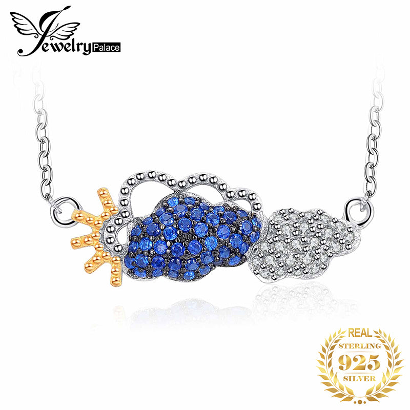 JPalace Cloud Created Blue Spinel Pendant Necklace 925 Sterling Silver Chain Gemstones Choker Statement Necklace Women 45cm - Slabiti