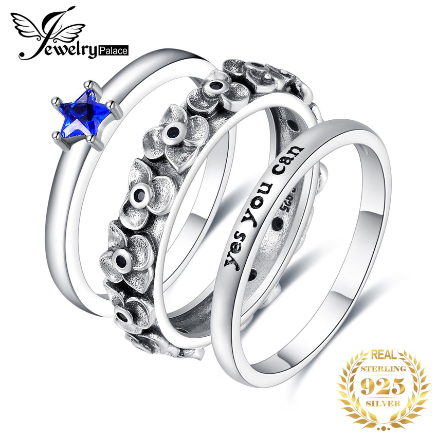 JPalace Created Blue Spinel Ring Set 925 Sterling Silver Rings for Women Anniversary Stackable Rings Sets Silver 925 Jewelry - Slabiti