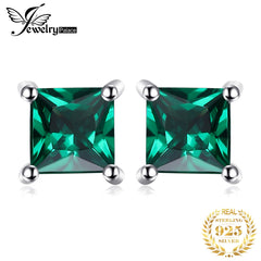 JPalace Created Nano Emerald Stud Earrings 925 Sterling Silver Earrings For Women Gemstones Korean Earings Fashion Jewelry 2019 - Slabiti
