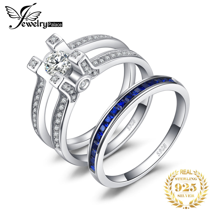 JPalace Created Sapphire CZ Engagement Ring 925 Sterling Silver Rings for Women Wedding Rings Bridal Sets Silver 925 Jewelry - Slabiti