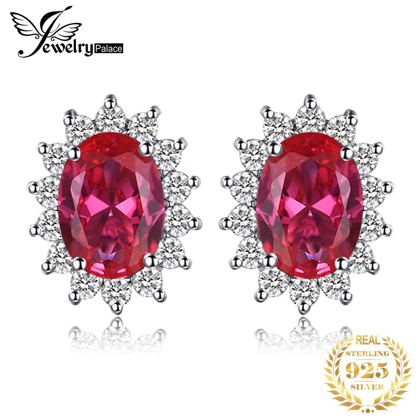 JPalace Diana Created Ruby Stud Earrings 925 Sterling Silver Earrings For Women Gemstones Korean Earings Fashion Jewelry 2019 - Slabiti