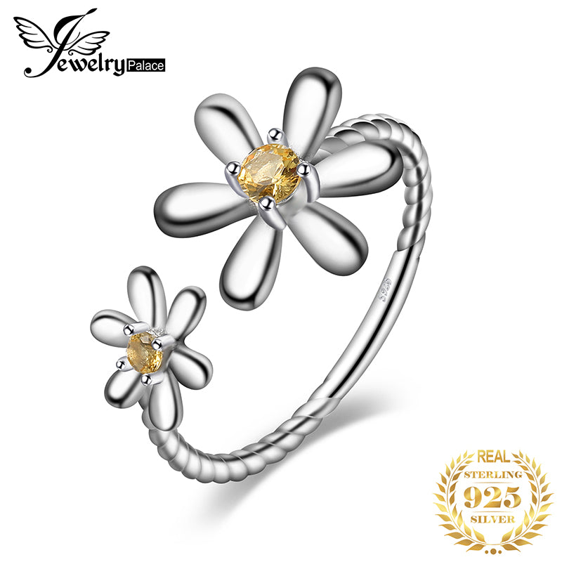 JPalace Flower Created Orange Sapphire Ring 925 Sterling Silver Rings for Women Stackable Ring Silver 925 Jewelry Fine Jewelry - Slabiti