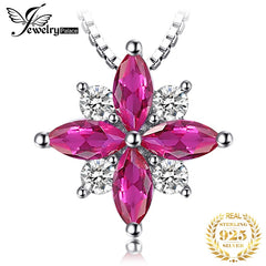 JPalace Flower Created Red Ruby Pendant Necklace 925 Sterling Silver Gemstones Choker Statement Necklace Women Without Chain - Slabiti