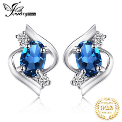 JPalace Genuine London Blue Topaz Stud Earrings 925 Sterling Silver Earrings For Women Gemstones Earings Fashion Jewelry 2019 - Slabiti