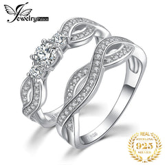 JPalace Infinity CZ Engagement Ring Set 925 Sterling Silver Rings for Women Wedding Rings Bands Bridal Sets Silver 925 Jewelry - Slabiti