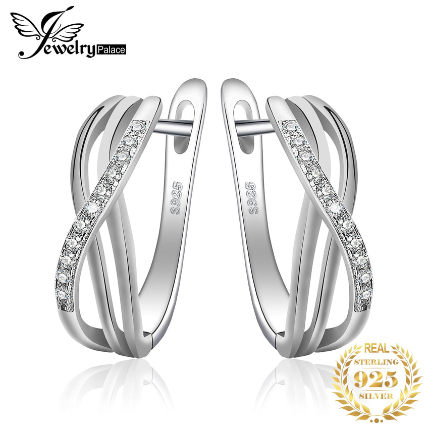 JPalace Infinity Cubic Zirconia Hoop Earrings 925 Sterling Silver Earrings For Women Girls Korean Earrings Fashion Jewelry 2019 - Slabiti