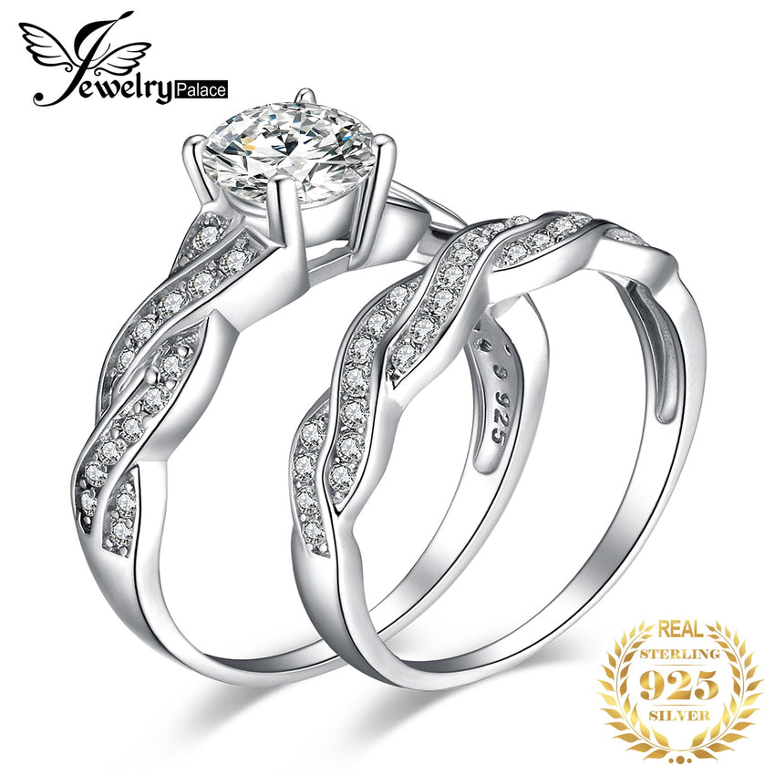 JPalace Infinity Engagement Ring Set 925 Sterling Silver Rings for Women Anniversary Wedding Rings Bridal Set Silver 925 Jewelry - Slabiti