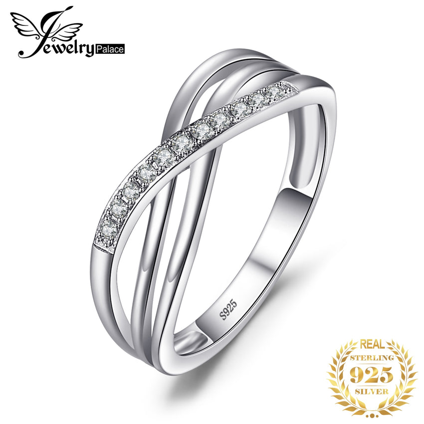 JPalace Infinity Wedding Rings 925 Sterling Silver Rings for Women Stackable Anniversary Ring Eternity Band Silver 925 Jewelry - Slabiti