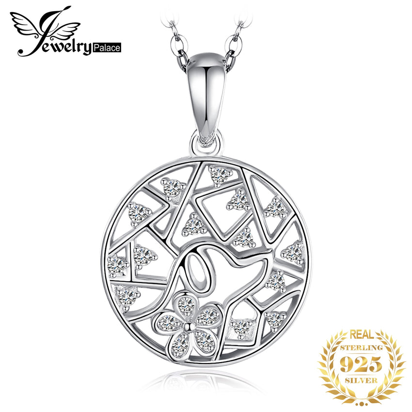 JPalace Leaf 925 Silver Pendant Necklace 925 Sterling Silver Choker Statement Necklace Women Silver 925 Jewelry Without Chain - Slabiti