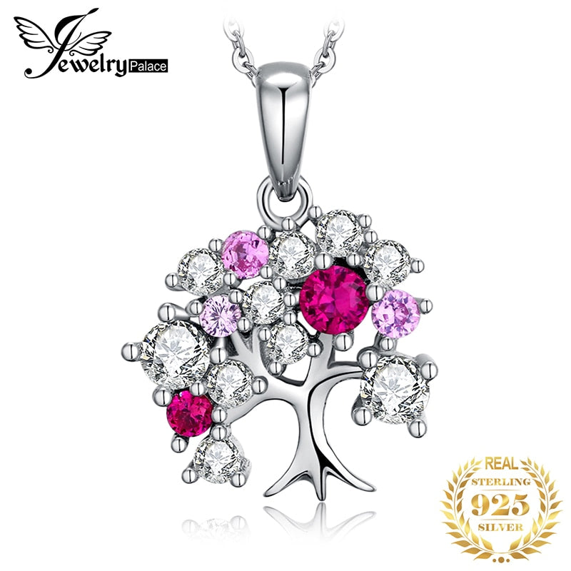 JPalace Life Tree Created Ruby Pendant Necklace 925 Sterling Silver Gemstones Choker Statement Necklace Women Without Chain - Slabiti