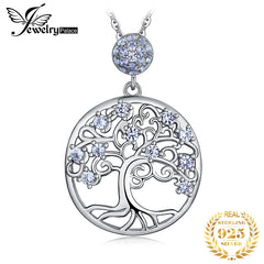 JPalace Life Tree Created Spinel Pendant Necklace 925 Sterling Silver Gemstones Choker Statement Necklace Women Without Chain - Slabiti
