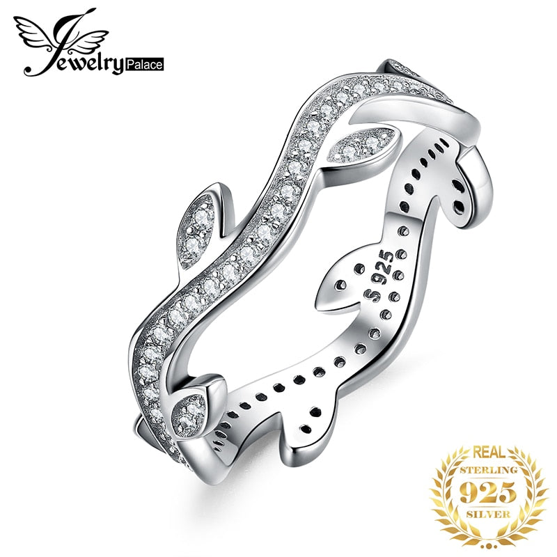 JPalace Olive Leaf Wedding Rings 925 Sterling Silver Rings for Women Stackable Anniversary Ring Eternity Band Silver 925 Jewelry - Slabiti