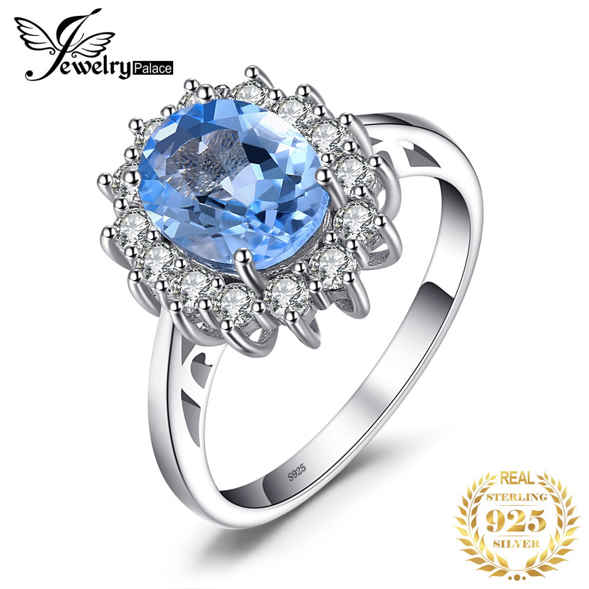 JPalace Princess Diana Genuine Blue Topaz Ring 925 Sterling Silver Rings for Women Engagement Ring Silver 925 Gemstones Jewelry - Slabiti