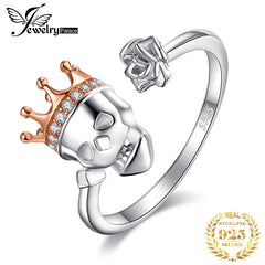 JPalace Skull King Crown Cubic Zirconia Rings 925 Sterling Silver Rings for Women Stackable Ring Silver 925 Jewelry Fine Jewelry - Slabiti