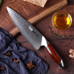 Japan kitchen knives vg10 damascus steel 8 inch chef knife handcraft hammer with rosewood handle individuality master cooking - Slabiti
