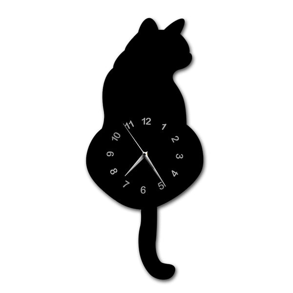 Japanese Adorable Black Cat Pendulum Clock Funny Cat Fnny Cat Swinging Tail Wall Clock Kit Cat Wall Decor Kitten Lovers Gift - Slabiti