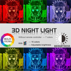 Japanese Anime 3d Night Lamp Naruto Figure Atmosphere for Kids Child Bedroom Decor Color Changing Touch Sensor Led Night Light - Slabiti