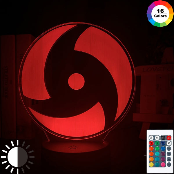 Japanese Anime Naruto Mangekyo Sharingan Naka Led Night Light Study Room Decoration Kids Child Birthday Gift 3d Illusion Lamp - Slabiti