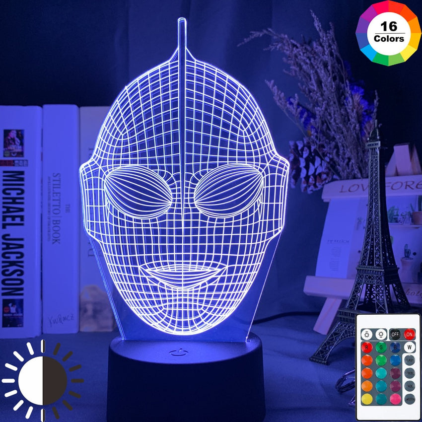 Japanese TV Show Cool Ultraman Head Hologram 3d Illusion Night Light Led Color Changing Kids Bedroom Bedside Desk Lamp Kids Gift - Slabiti