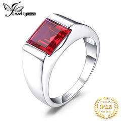JewPalace 3.3ct Created Red Ruby Ring 925 Sterling Silver Rings for men Wedding Rings Silver 925 Gemstones Jewelry Fine Jewelry - Slabiti
