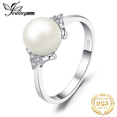 JewPalace 8mm Freshwater Cultured Pearl Ring 925 Sterling Silver Rings for Women Engagement Ring Silver 925 Gemstones Jewelry - Slabiti