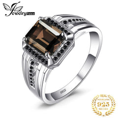 JewPalace Genuine Smoky Quartz Ring 925 Sterling Silver Rings for men Wedding Rings Silver 925 Gemstones Jewelry Fine Jewelry - Slabiti
