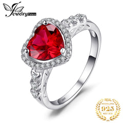 JewPalace Heart Of Ocean 3ct Created Ruby Ring 925 Sterling Silver Rings for Women Engagement Ring Silver 925 Gemstones Jewelry - Slabiti