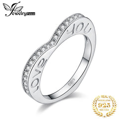 JewPalace Love You Wedding Rings 925 Sterling Silver Rings for Women Stackable Anniversary Ring Eternity Band Silver 925 Jewelry - Slabiti
