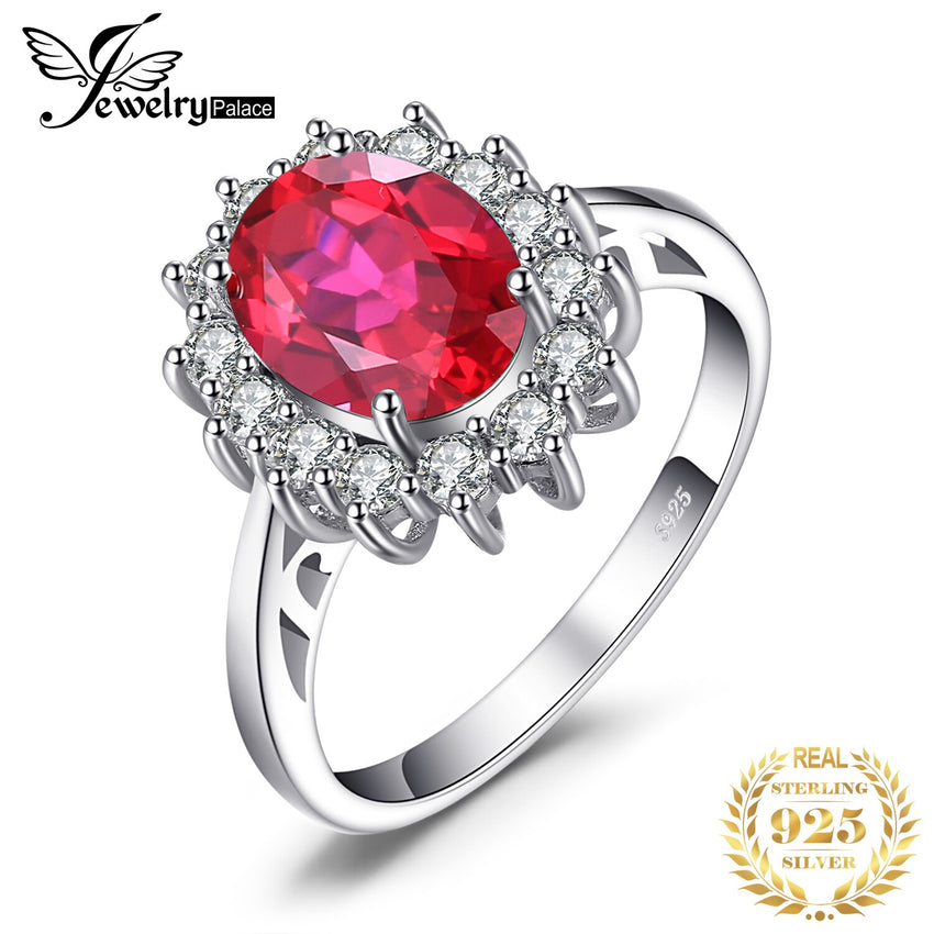 JewPalace Princess Diana Created Red Ruby Ring 925 Sterling Silver Rings for Women Engagement Ring Silver 925 Gemstones Jewelry - Slabiti