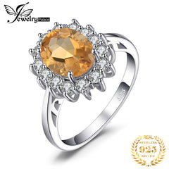 JewPalace Princess Diana Genuine Citrine Ring 925 Sterling Silver Rings for Women Engagement Ring Silver 925 Gemstones Jewelry - Slabiti