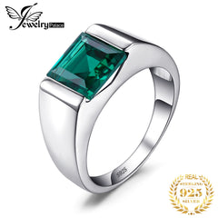 JewPalace Simulated Nano Emerald Ring 925 Sterling Silver Rings for men Wedding Rings Silver 925 Gemstones Jewelry Fine Jewelry - Slabiti