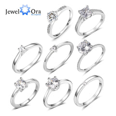 JewelOra 925 Sterling Silver Ring with Cubic Zirconia Classic Style Engagement Wedding Rings for Women Bridesmaid Gifts - Slabiti