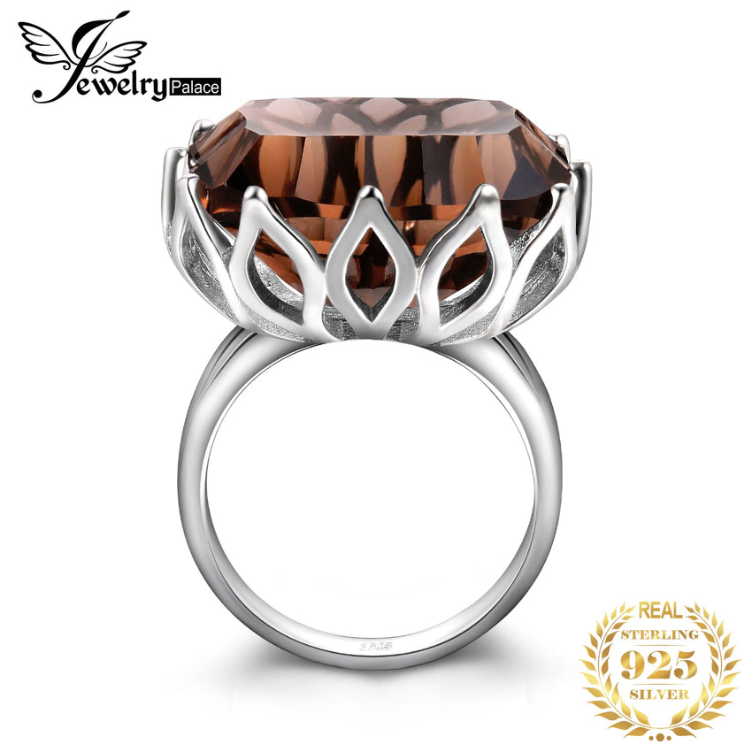 JewelPalace 23ct Huge Concave Genuine Smoky Quartz Ring 925 Sterling Silver Rings for Women Silver 925 Jewelry Gemstones Jewelry - Slabiti