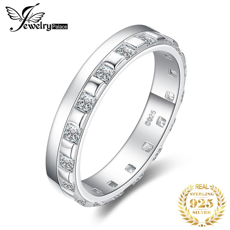 JewelPalace Square Wedding Rings 925 Sterling Silver Rings for Women Stackable Anniversary Ring Eternity Band Silver 925 Jewelry - Slabiti