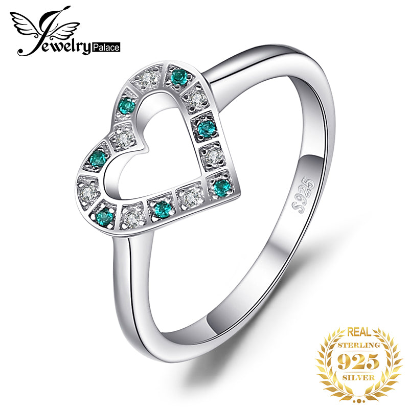 JewelryPalace 0.05ct Nano Russian Simulated Emerald Heart Ring 925 Sterling Silver Women - Slabiti