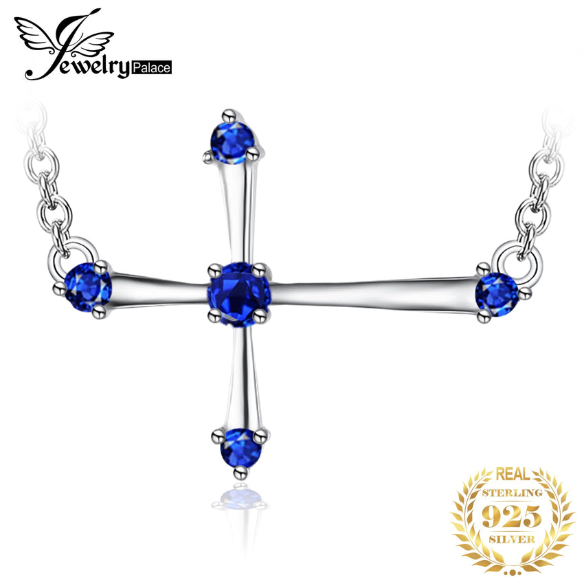 JewelryPalace 0.25ct Created Sapphire Cute Cross Necklace 925 Sterling Silver Jewelry for Women Fine Jewelry For Women 2018 New - Slabiti