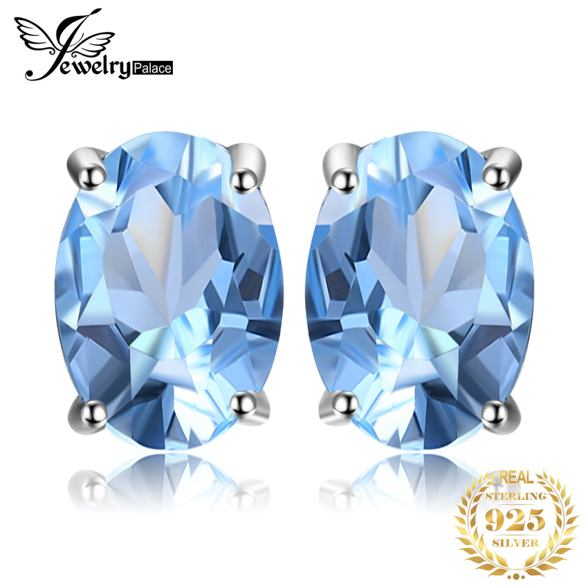 JewelryPalace 1.9ct Genuine Blue Topaz Stud Earrings 925 Sterling Silver Earrings For Women Korean Earings Fashion Jewelry 2019 - Slabiti